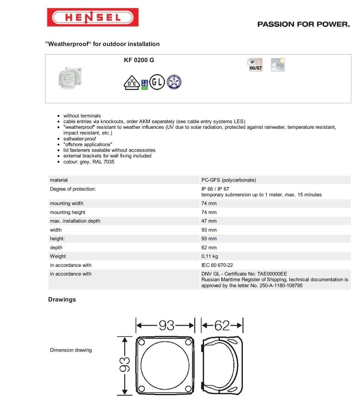 Hensel KF 0200/G Polycarbonate Electrical Junction Box/ /Electrical Junction Boxes Grey, 93/mm, 62/mm, 93/mm, 110/g