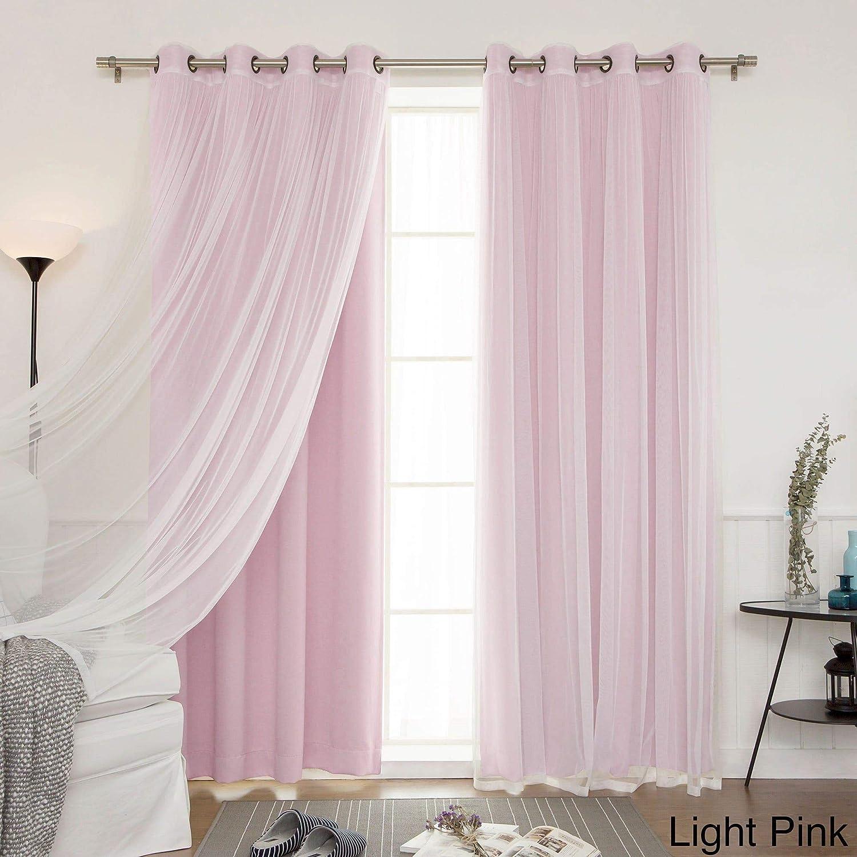 "Aurora Home Mix and Match Blackout Blackout Curtains Panel Set (4-Piece) Light Pink 52"" x 63"" 63 Inches"