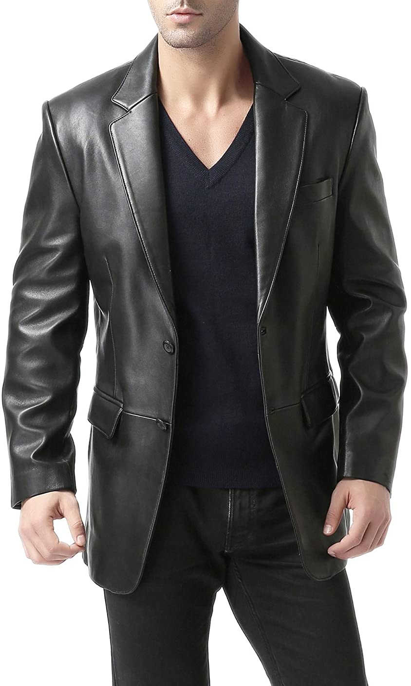 Men/'s Black Genuine Lambskin Blazer Jacket