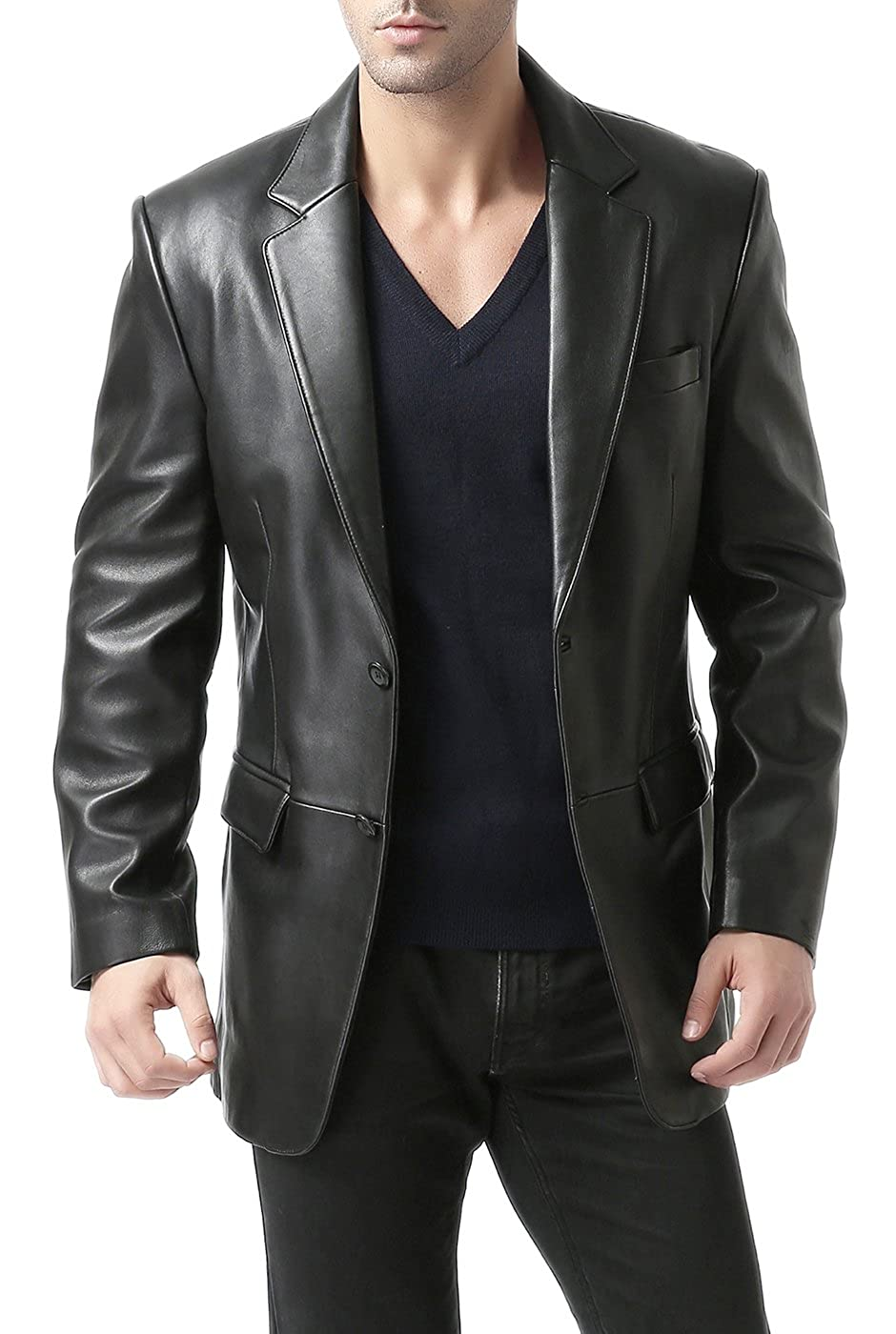 BGSD Men's Richard Classic New Zealand Lambskin Leather Blazer (Regular Big & Tall Short)