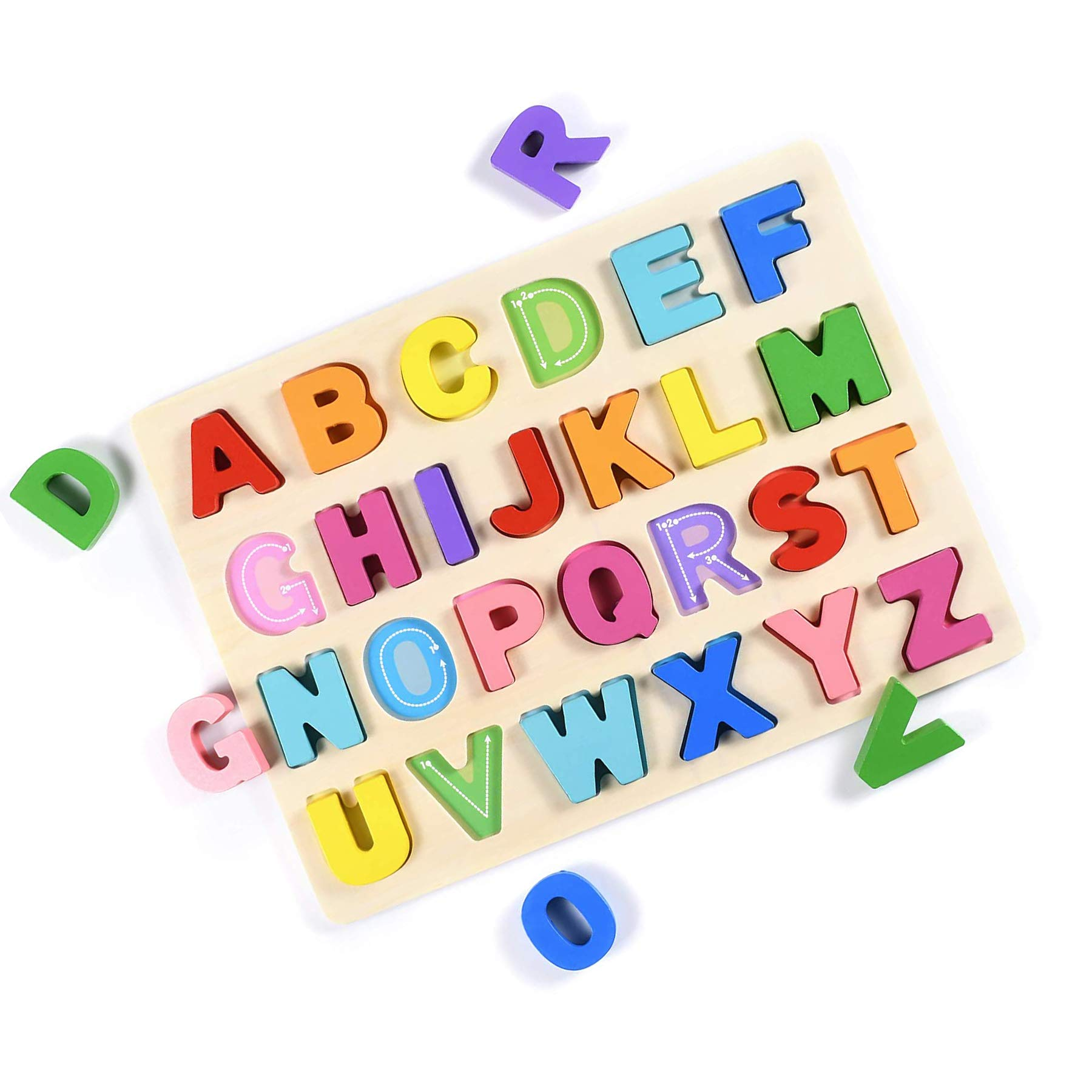 T Leaves Alphabet Puzzles ABC Wooden Puzzles Board for Toddler 3-5 Years