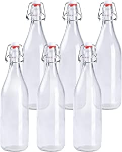 Ilyapa 32 Ounce Clear Swing Top Glass Beer Bottles for Home Brewing - Carbonated Drinks, Kombucha, Kefir, Soda, Juice, Fermentation, 6 Pack Glass Bottle with Airtight Rubber Seal Flip Caps