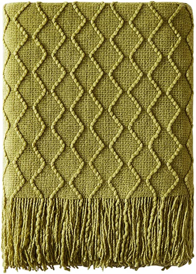 "BOURINA Textured Solid Soft Sofa Throw Couch Cover Knitted Decorative Blanket, 50"" x 60"", Olive Green"