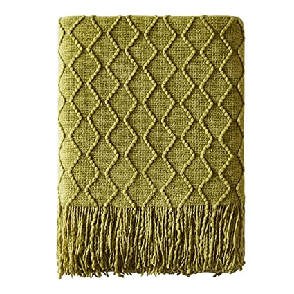 Super Bourina Textured Solid Soft Sofa Throw Couch Cover Knitted Decorative Blanket 50 X 60 Olive Green Beatyapartments Chair Design Images Beatyapartmentscom