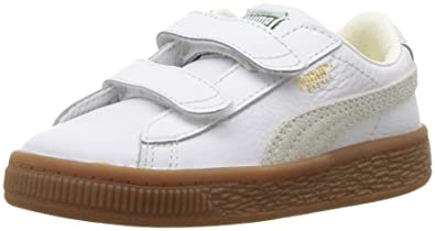 a6355161a79 PUMA Baby Basket Classic Gum Deluxe Velcro Sneaker White
