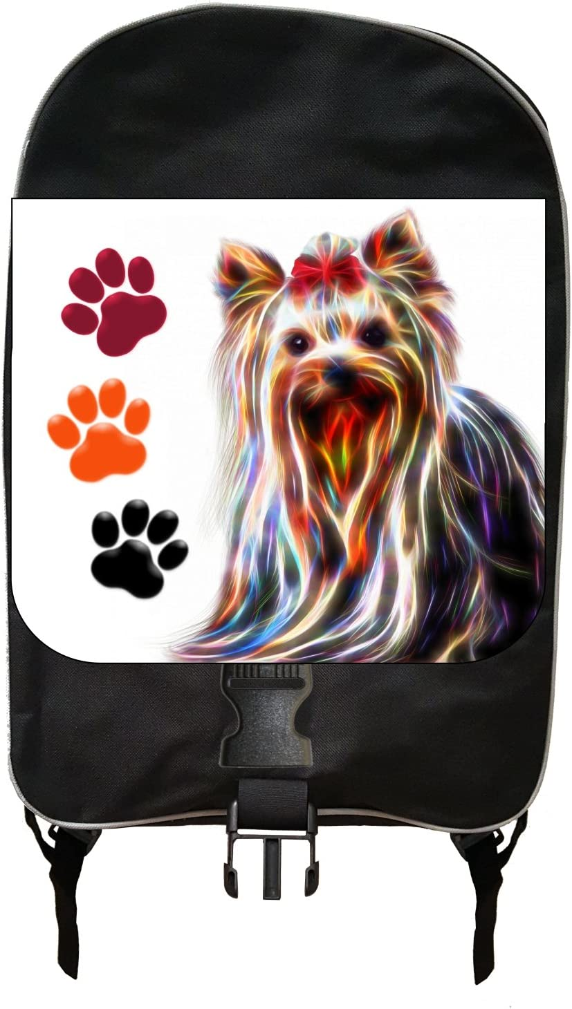 Large Black School Backpack and Pencil Case Set Yorkie and Pawprints