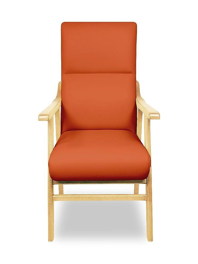 SERMAHOME Sillon butaca Boston, Estructura de Madera de Haya Color Haya. Tapizado en Polipiel Color Naranja. Sillon para Comedor | Silla geriatrica | ...