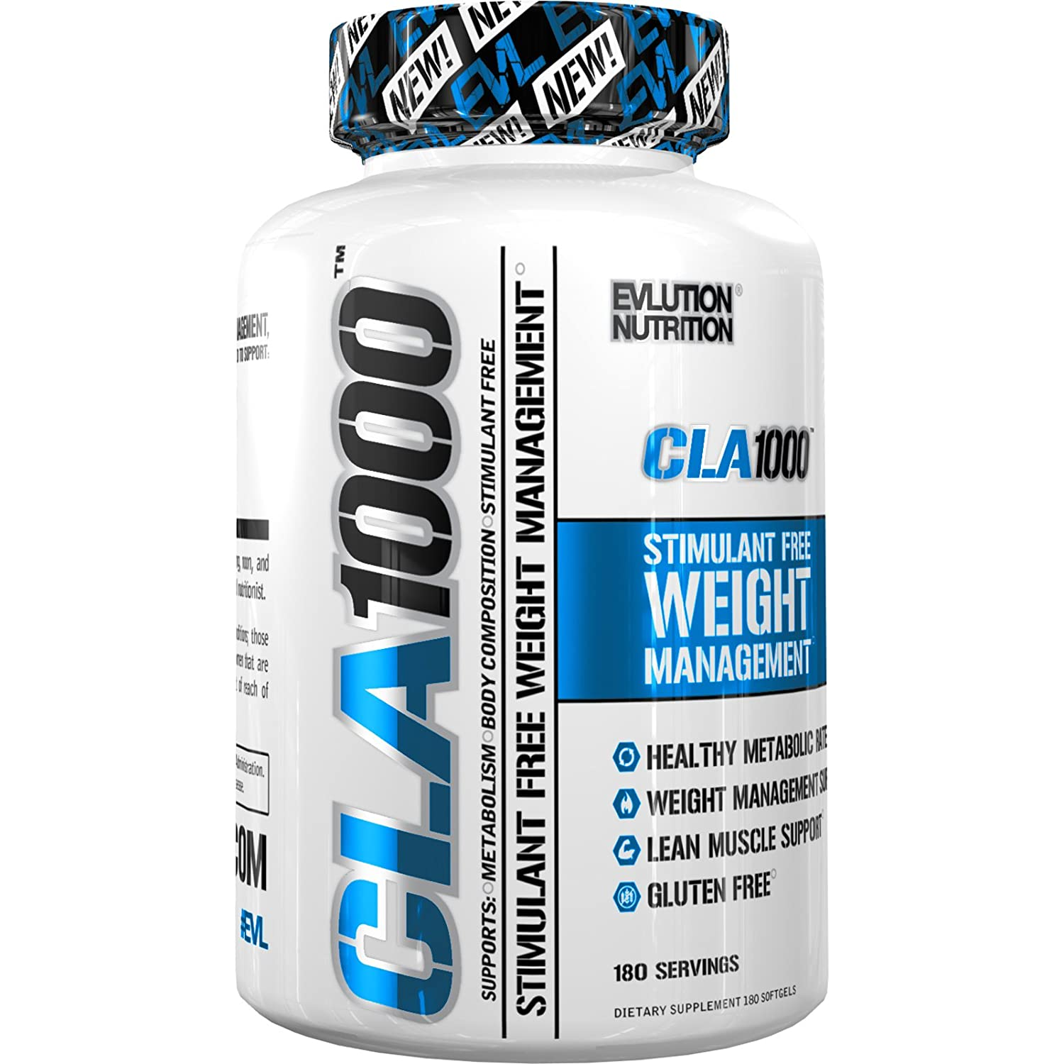Evlution Nutrition - CLA 1000 Conjugated linoleic acid, 180 Serving Soft Gel, Weight Loss Supplement, Stimulant-Free