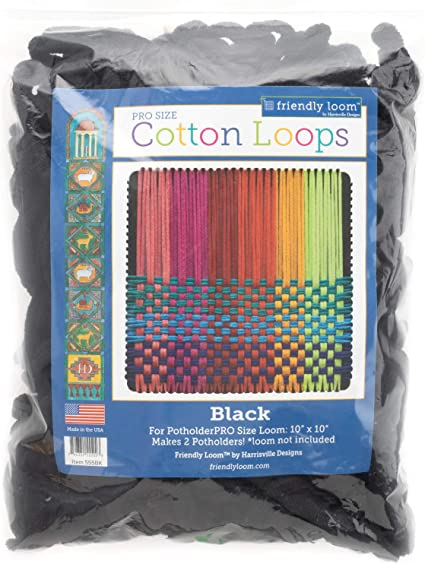 5 12\u201d black and rainbow striped and multicolor checked cotton loop potholder