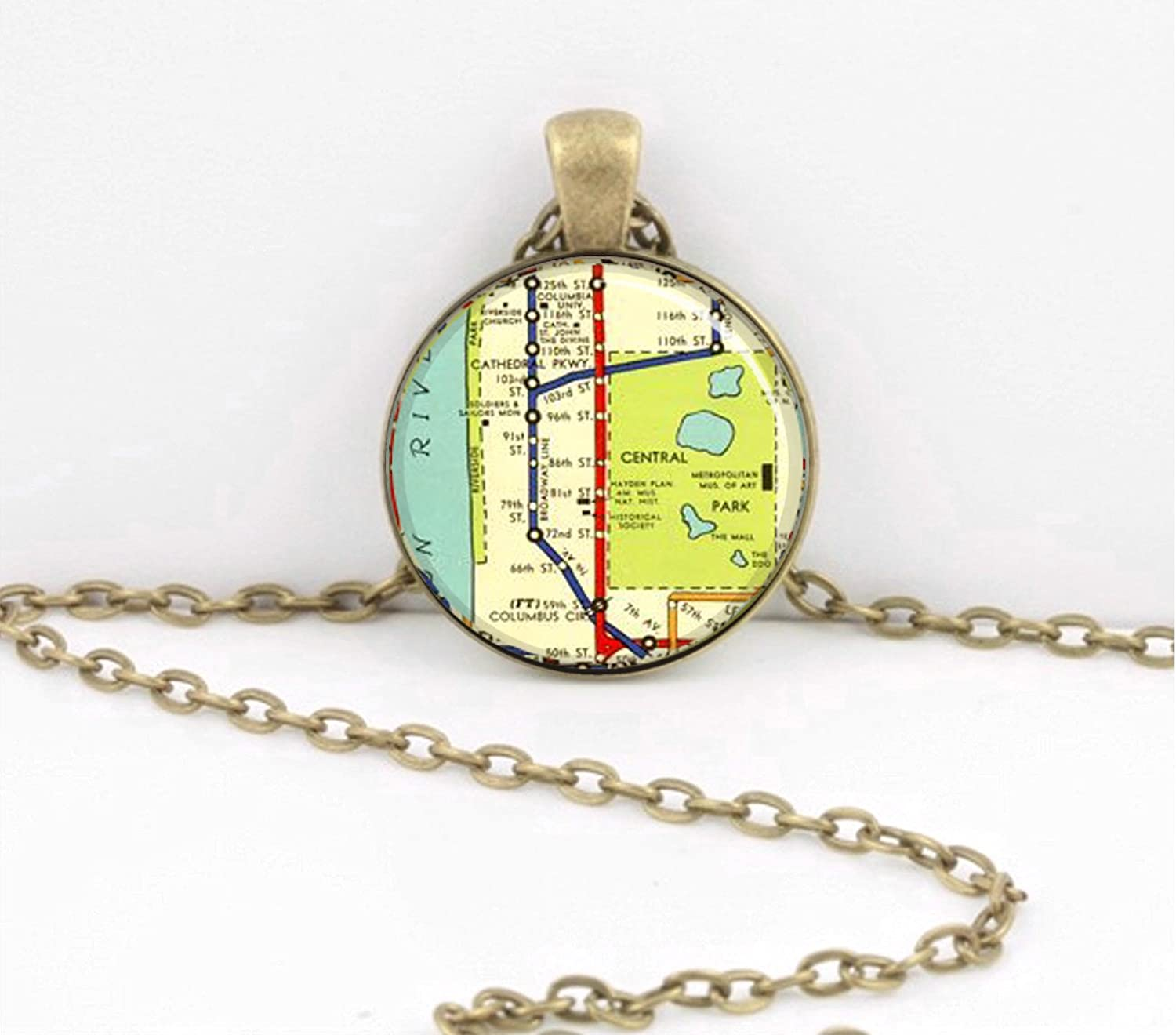 Nyc Subway Map Key.Manhattan New York Upper West Side Nyc Vintage Subway Map Vintage Map Pendant Necklace Key Ring Travel Gift Jewelry