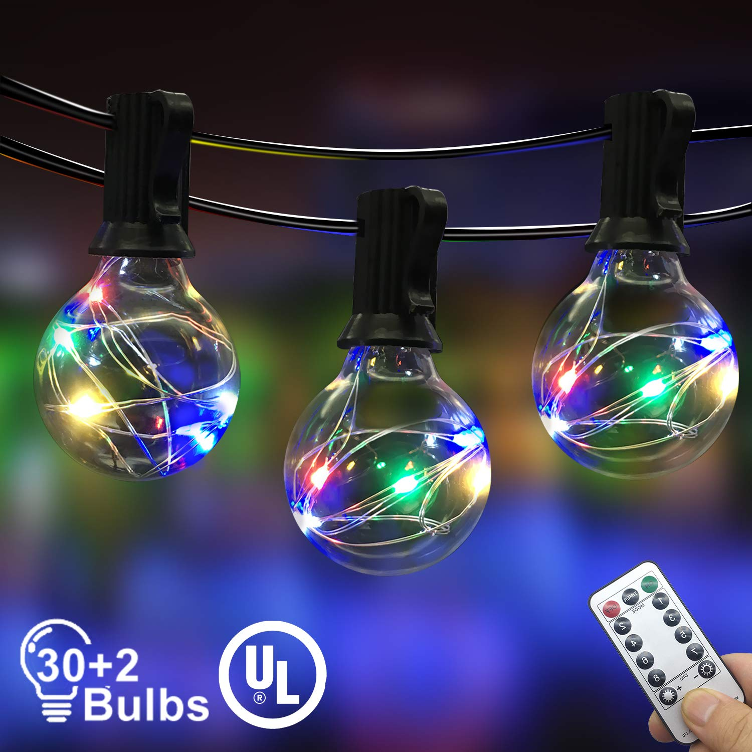 IELECMG Outdoor String Light, 32.8FT 30Pcs Linkable Patio Lights Dimmable G40 Globe Led String Lights with Remote Control UL Waterproof Backyard Lights for Bistro Garden Wedding Christmas Decoration by IELECMG