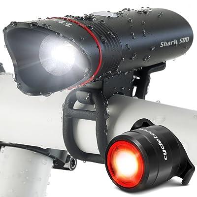 Éclairage Vélo Shark 500 de Cycle Torch, Lampe Pour Velo Rechargeable USB Ultra Lumineux de 500 lumens, Eclairage Arrière Inclus, Convient à Tous les Vélos, Imperméable
