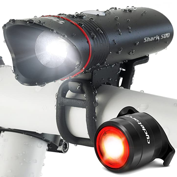 Cycle Torch Shark 500 USB Rechargeable Bike Light – Headlight & Tail Light Set- Fits All Bicycles, Hybrid, Road, MTB