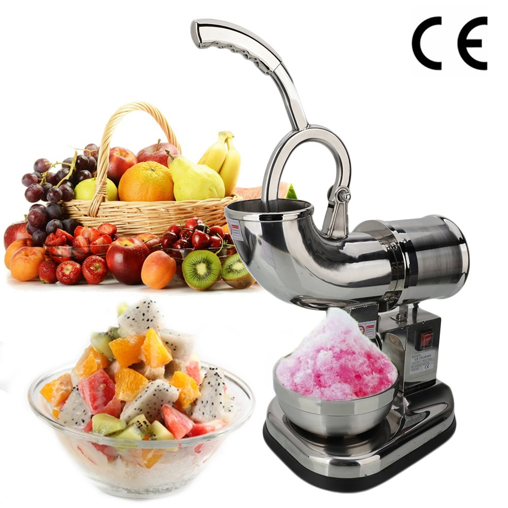 Electric Dual Blades Ice Crusher Shaver Snow Cone Maker Machine Silver 440lbs/hr for Home and Commerical Use Ice Shaver Machine Electric Snow Cone Maker Stainless Steel Shaved Ice Machine by Wrea