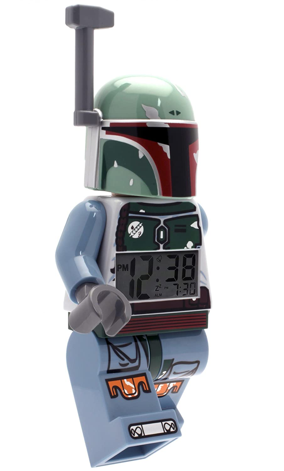 LCD display 9.5 inches tall plastic green//blue LEGO Star Wars Boba Fett Kids Minifigure Light Up Alarm Clock official LEGO CLOCKS WATCHES 9003530 Accessory Consumer Accessories boy girl