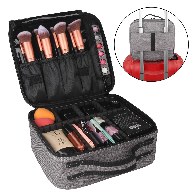 Professional Makeup Train Case,Travel Makeup Bag Portable Makeup Cosmetic Case Organizer for Makeup Brush with Adjustable Dividers (Black)