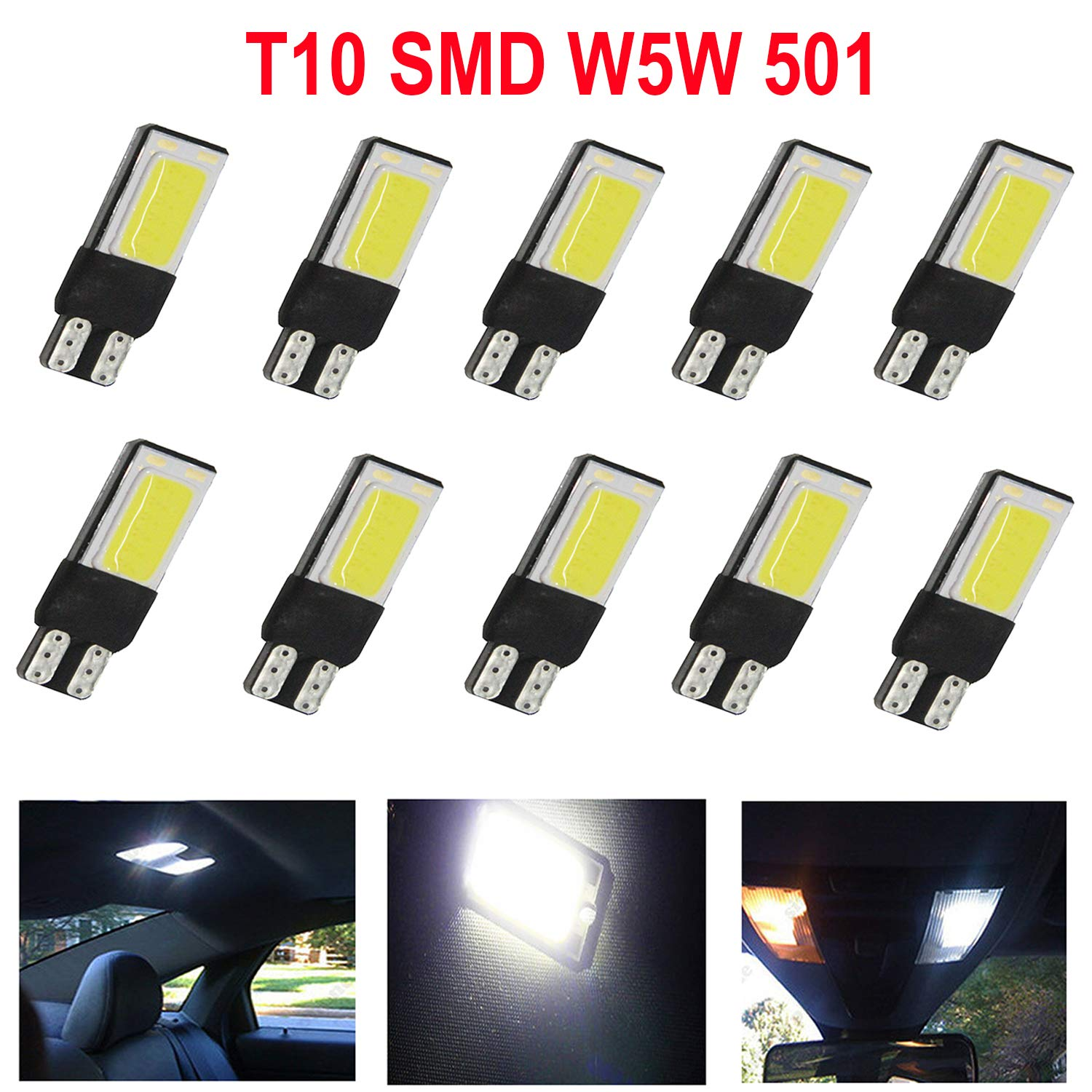 High Key 8x T10 501 Car Bulbs Led Error Free Canbus SMD Cob White Ice Blue W5W Side Light Replacement for Car Interior Dome Map Door Dashboard Trunk Courtesy License Plate Light 8x, White