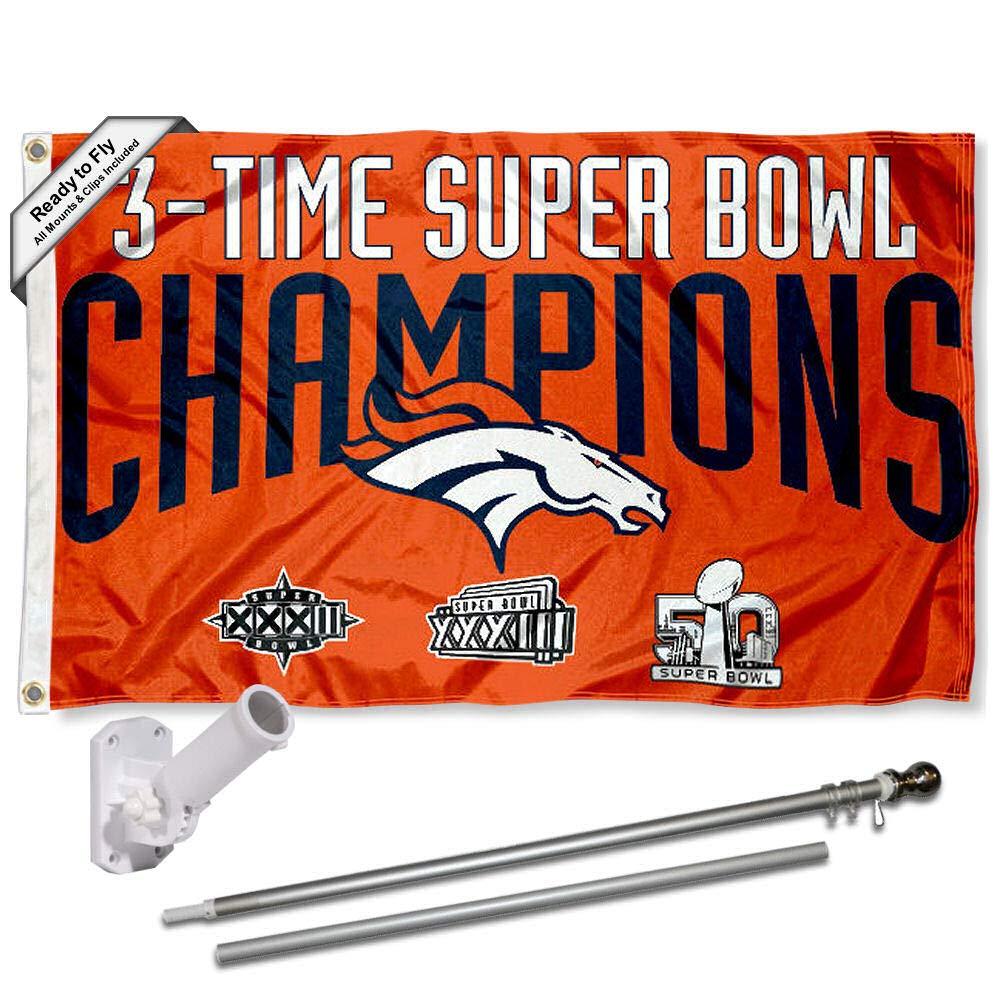 Denver Broncos 3時間Champsフラッグポールとブラケットキット   B01MYVKS5Y