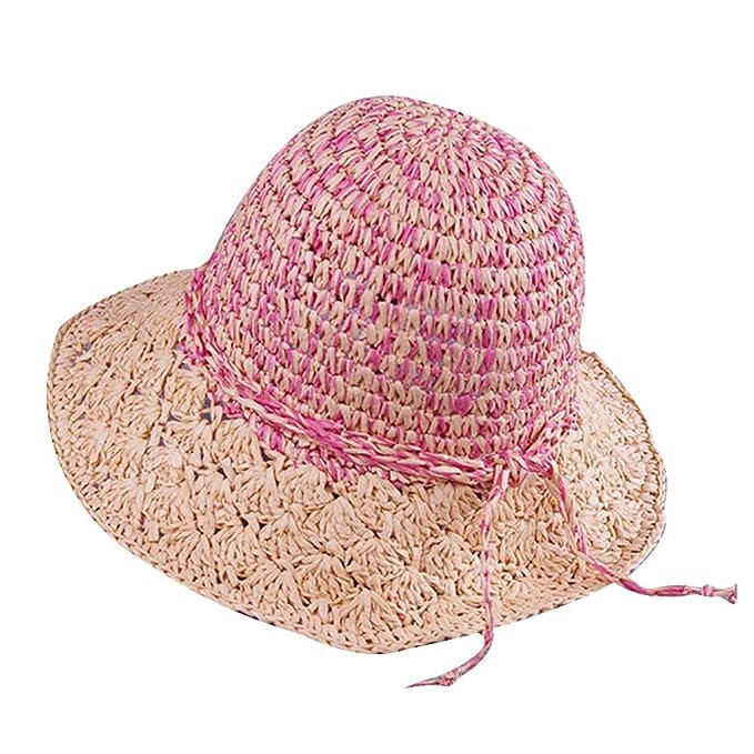 Visiera spiaggia cappello di paglia donna JYou rosa  Amazon.it   Abbigliamento e42c06ee4a49