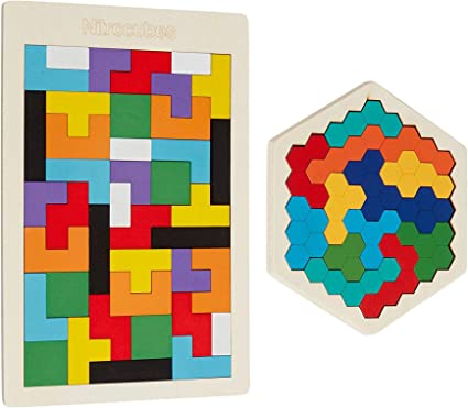 Wooden Hexagon Puzzle for Kid Adults Shape Block Tangram Brain Teaser Colorful Toy Geometry Logic IQ Game STEM Montessori Educational Gift for All Ages Challenge Children Kid Boys Girls