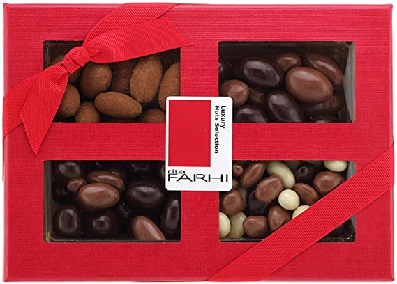 Rita Farhi Selection Of Chocolate Covered Nuts Almonds Brazils Hazelnuts In A Luxury Gift Box 390 G