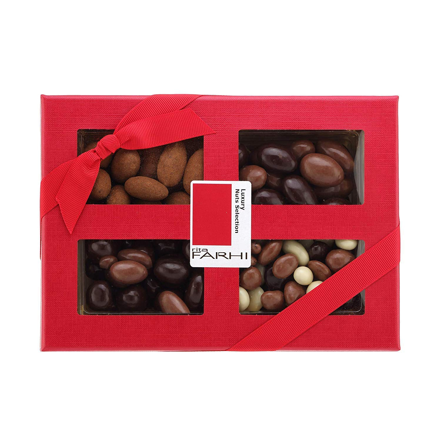 Rita Farhi Selection of Chocolate Covered Nuts (Almonds, Brazils, Hazelnuts) in a Luxury Gift Box, 390 g