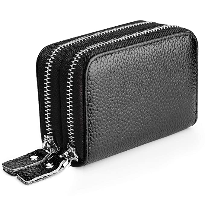 Amazon.com: MaxGear RFID cartera de cuero genuino con ...