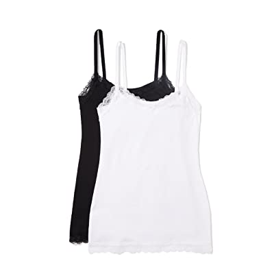 Brand - Iris & Lilly Women's Body Natural Lace Trim Vest, 2-Pack: Clothing