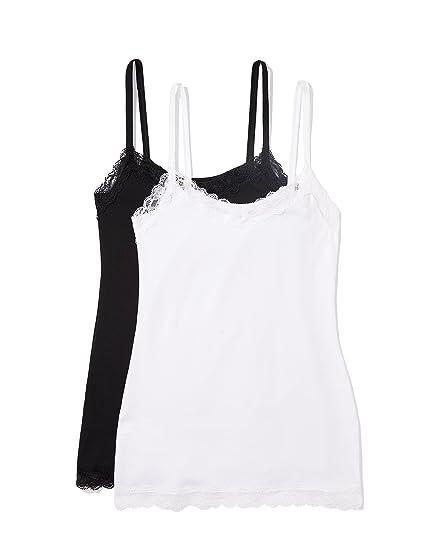 Iris & Lilly Damen Unterhemd mit Spitze, 2er Pack