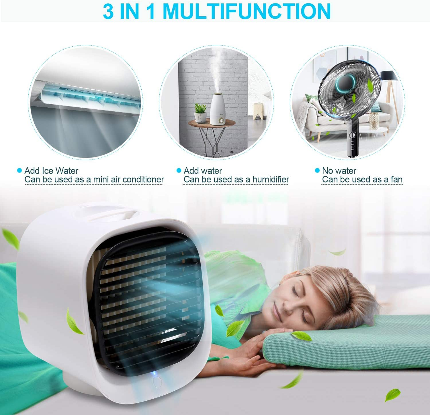 Sterilizer Purifier Desktop Cooling Fan with 3 Speeds for Home Room Office Humidifier EUBUY Portable Air Cooler,Personal Space Air Cooler Green 4 in 1 Mini USB Air Conditioner Fan