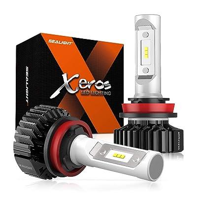 SEALIGHT H11 LED Headlight Bulb, H8 H9 H16 LED Bulb, Low Beam, Fog Light, Compact Fanless Design, 6500 Lumens, 6000K Cool White, 12 CSP Chips: Automotive