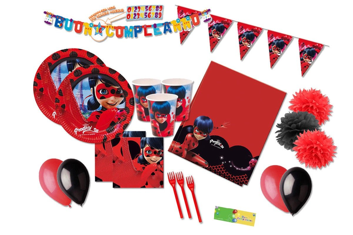 DECORATA PARTY Kit N 59 Coordinato per compleanno Ladybug - Prodigiosa - Miraculous