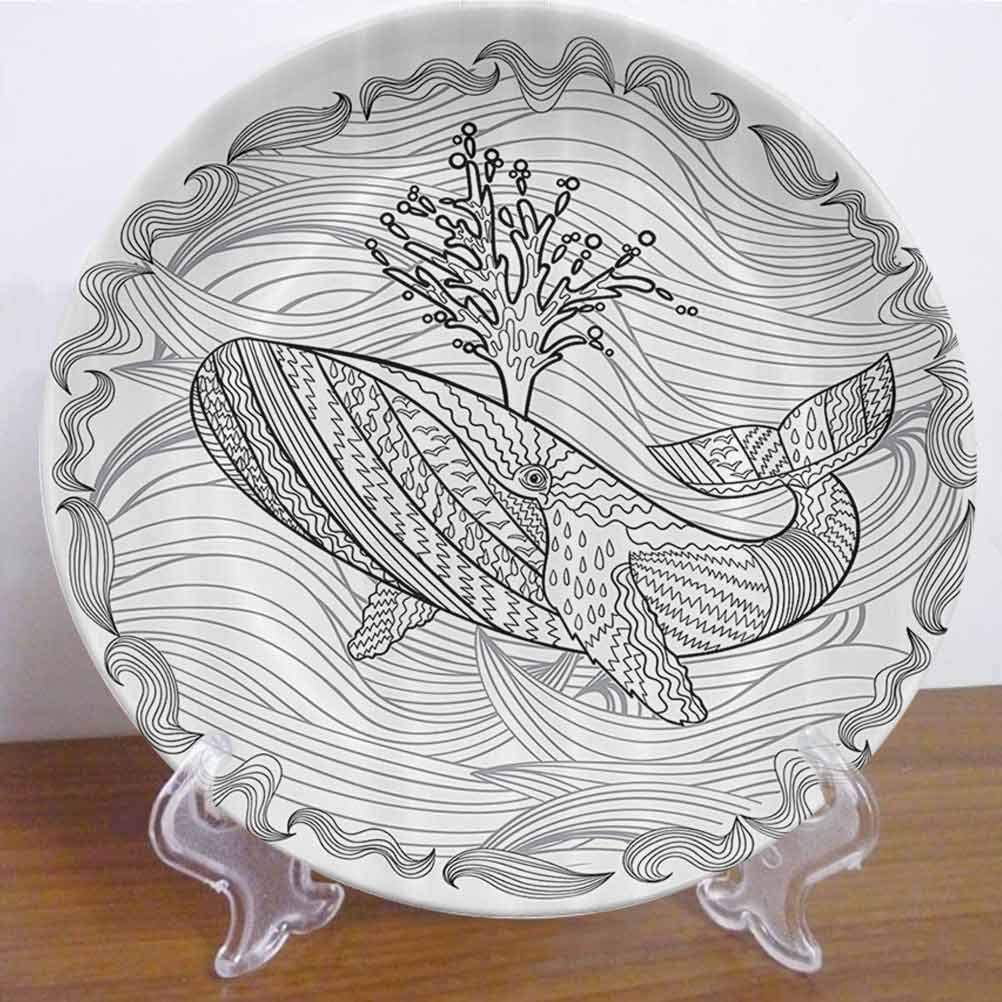 """8"""" Modern Ceramic Dinner Plate Razorback Whale Swimming in Doodle Stylized Ocean Waves Sea Underwater Illustration Decor Accessory for Dining Table Tabletop Home Decor"""