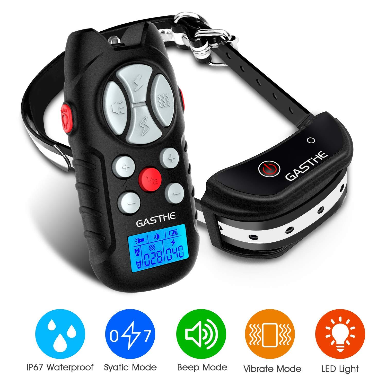 Gasthe Dog Training Collar with Romote – Dog Shock Collar, 3 Training Modes, Beep, Vibration, and Shock, Waterproof, Up to 3280Ft Remote Range, 0 100 Shock Levels with LED Emergency Flashlight