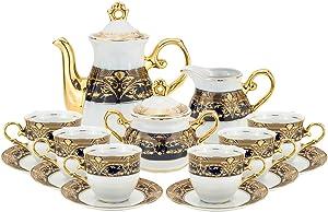 Royalty Porcelain 17pc Flower Pattern Cobalt Blue Tea Set Tableware