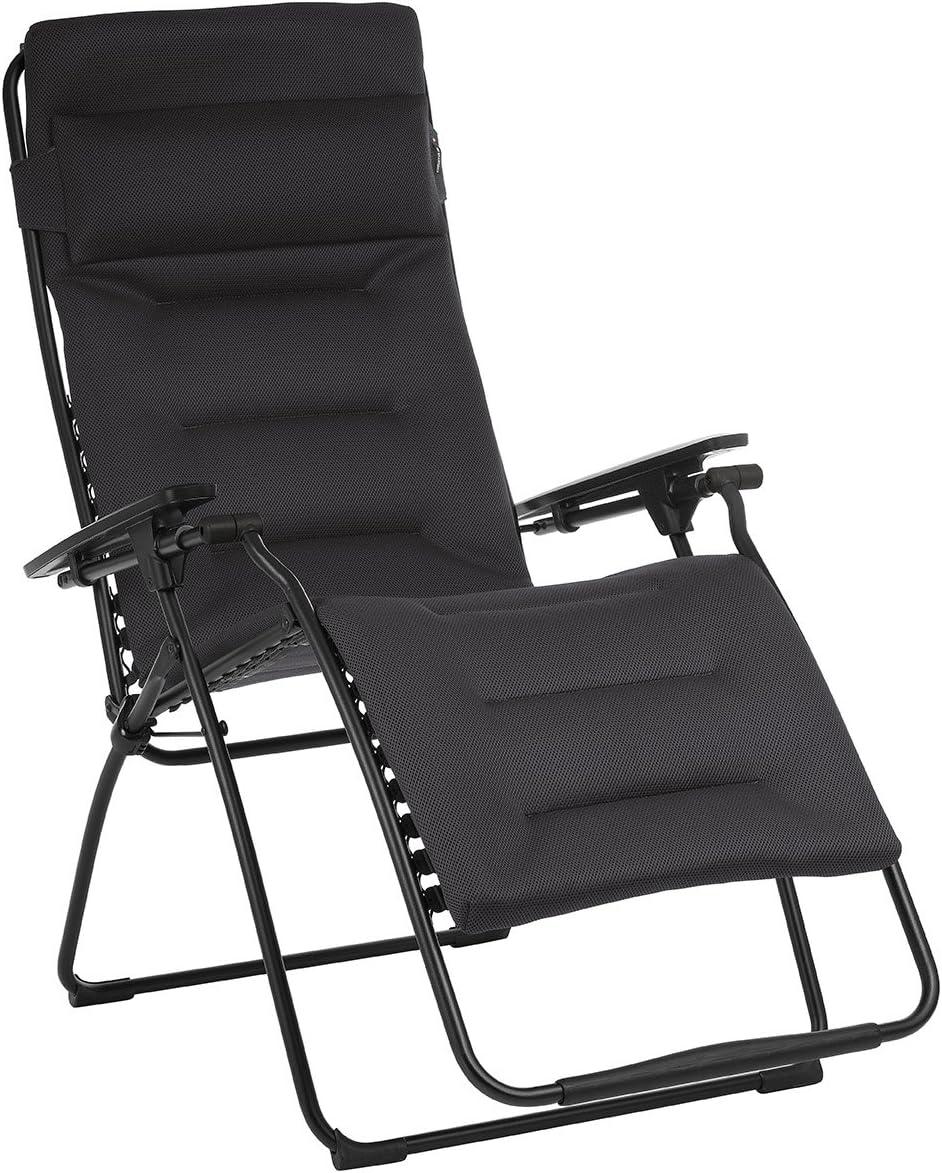 Lafuma LFM3123-6135 Futura XL Zero Gravity Recliner-Black Frame, Acier Air Comfort Fabric