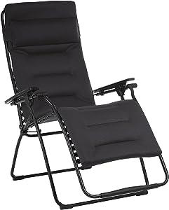 Lafuma Futura XL Air Comfort Zero Gravity Recliner (Acier Black) Extra Large Padded Folding Outdoor Reclining Chair