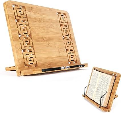 computadora port/átil receta Soporte de libro de madera Soporte de libro cocina altura ajustable Soporte lectura port/átil plegable para escritorio