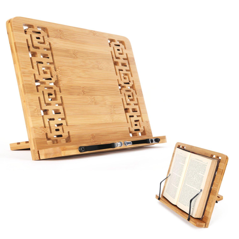 con supporto pieghevole e retro regolabile Hollow Uniquebella Supporto da lettura per tablet in bamb/ù