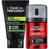 L'Oreal Paris Men Expert Pure Charcoal Face Wash For Men+ Vita Lift Face Cream Anti Aging Moisturizer for Men with Pro Retino
