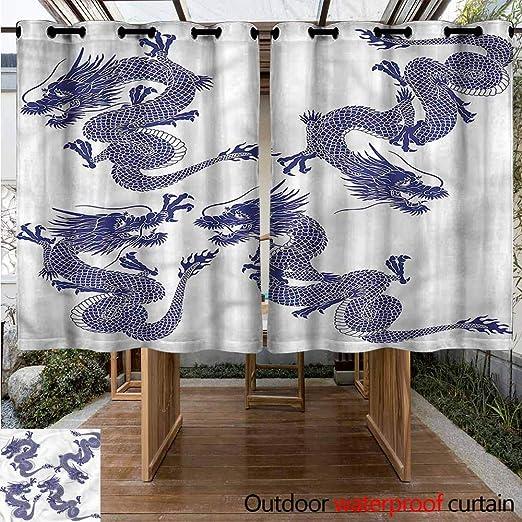 Sunnyhome Cortina para Puerta corredera, diseño de dragón japonés ...
