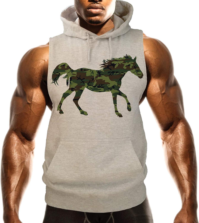 Interstate Apparel Mens Camo Horse B1411 Gray Fleece Vest Hoodie