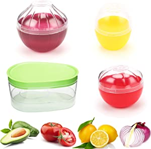 Fruit and Vegetable Storage Containers for Fridge 4 Piece Set, Onion, Lemon, Tomato and Avocado Saver/Holder/Keeper