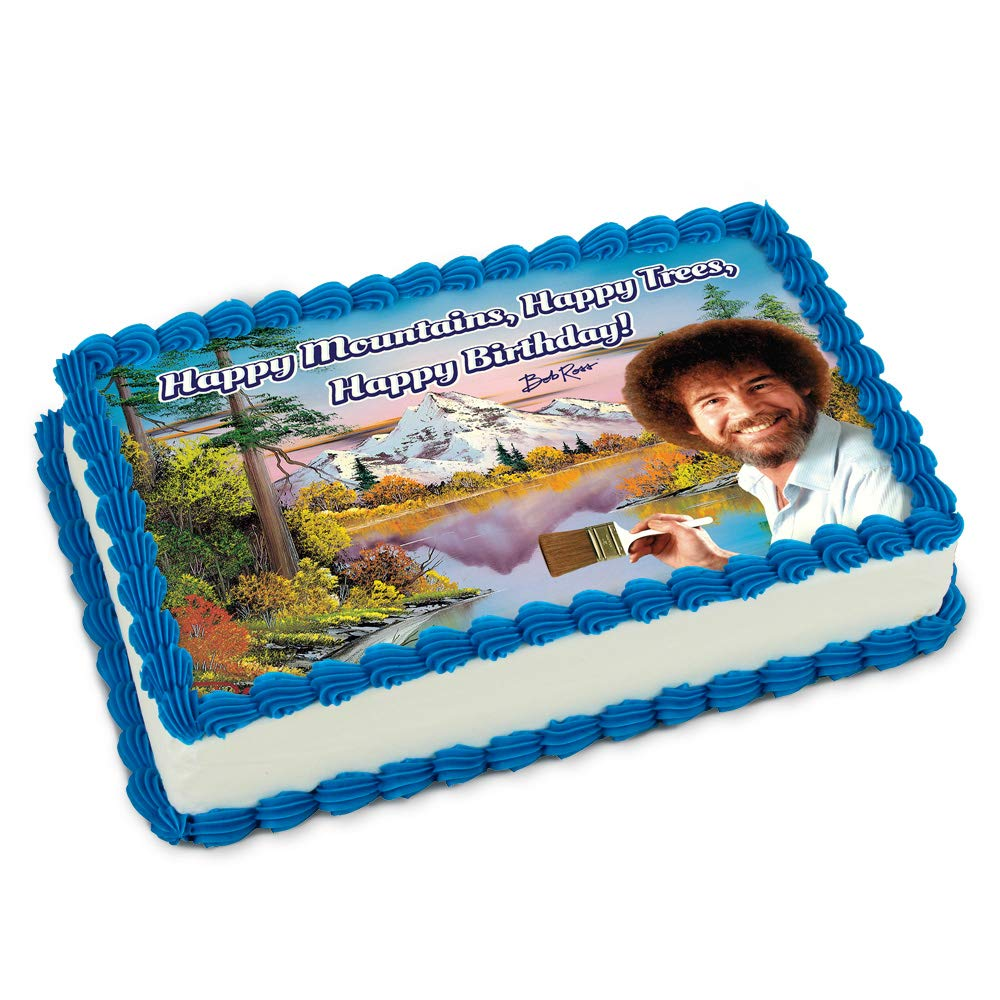 Official Bob Ross ''Happy Mountains, Happy Trees, Happy Birthday!'' Edible Printed Cake Image Topper made of Quality Icing Paper designed to fit 1/4 Sheet Cake.
