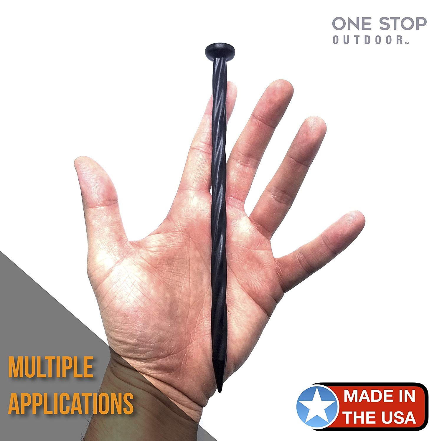 (150 Pack) USA Made - 8'' Inch Plastic Edging Nails, Spiral Nylon Landscape Stake Nail / Anchoring Spikes For Paver Edging, Weed Barrier, Artificial Turf (Fits Most Brands Dimex EasyFlex Proflex) (150) by One Stop Outdoor (Image #4)