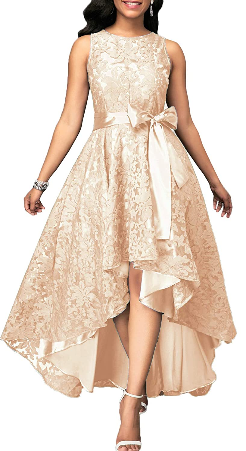 Champagne EileenDor Women's Short Front Long Back Lace Prom Dresses Sleeveless HiLo Ankle Cocktail Party Dresses