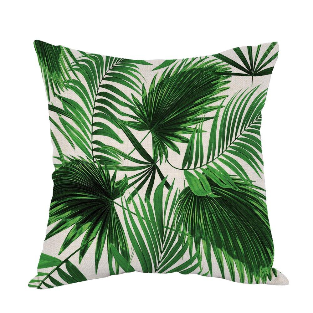 moslion Palm Tree枕、ホーム装飾投げ枕カバーリアルな鮮やかなヤシのツリーの葉Growth Ecology Lush BotanyテーマPrinコットンリネンクッションソファ/ソファ/bedroom18 X 18インチ枕カバー B07CNPRS9S
