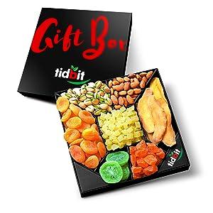 Tidbit Holiday Healthy Gourmet Snack, Fruit & Nut Gift Basket Platter, 1 Count - Food Gift Basket for Valentine's Day! A Valentines Day Gift Baskets for Her or Him.