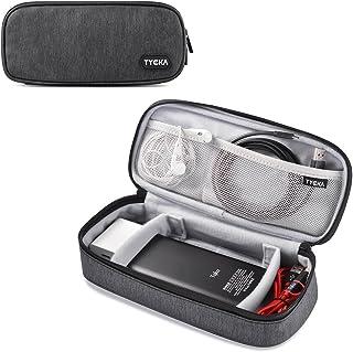 TYCKA Mini Reise Aufbewahrungstaschen für elektronisches Zubehör mit zwei verstellbaren Klettverschlüssen für Kabel, Stecker, USB, SD-Karten, Ladegeräte, dunkelgrau