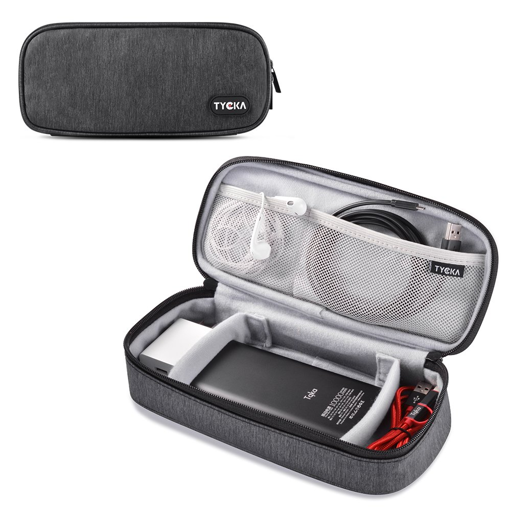 TYCKA Mini Travel Electronics Accessories Storage Bags Two Adjustable Velcro Dividers Cable, Cord, USB, SD Cards, Chargers, Deep Gray RA-TK307